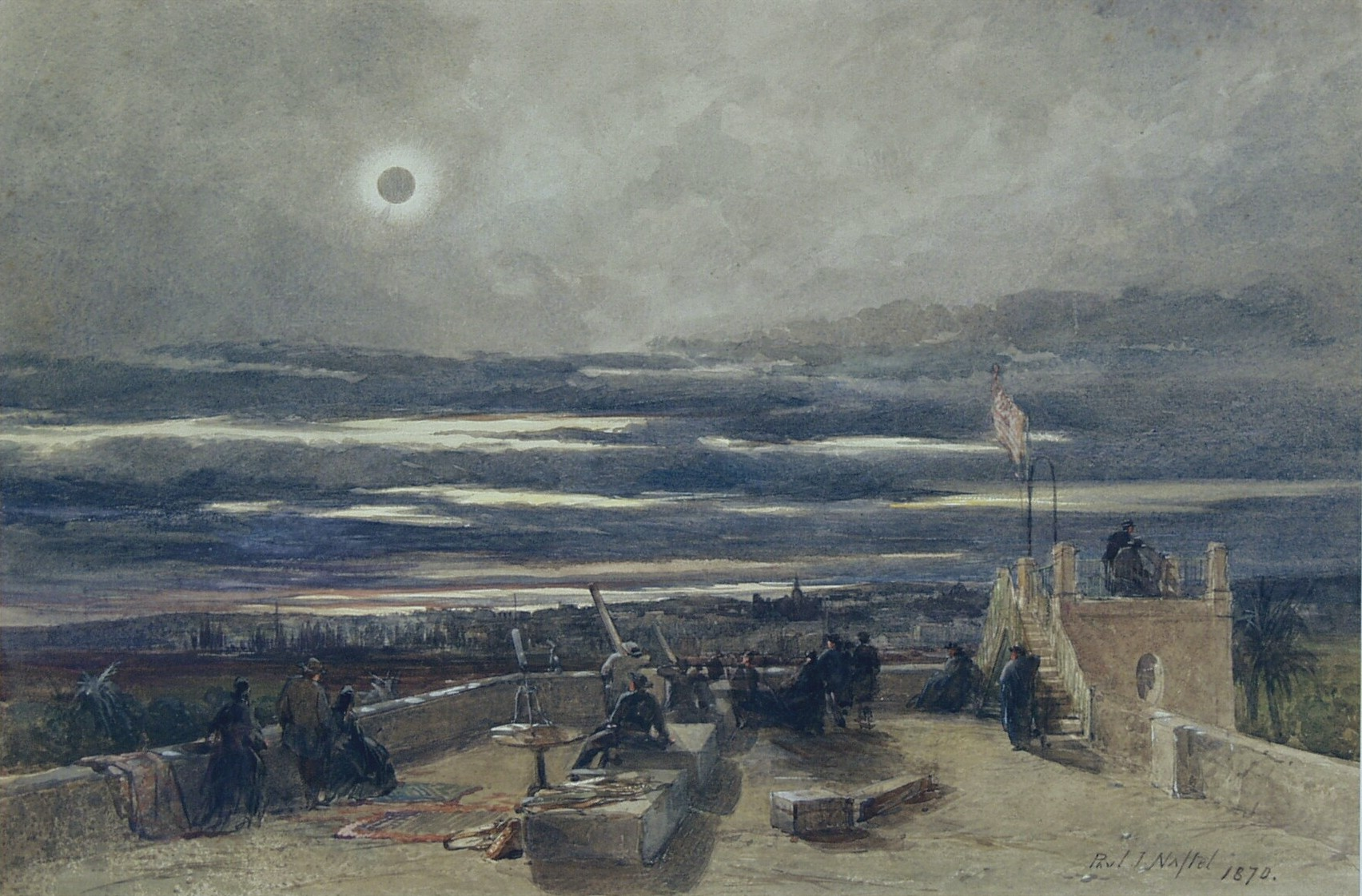 Naftel 1870 eclipse painting - Le Conte
